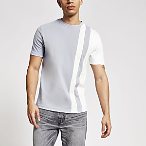 Maison Riviera - Blauw gestreept T-shirt met kleurvlakken