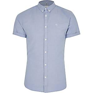 Maison Riviera - Blauw aansluitend overhemd van Oxford-katoen