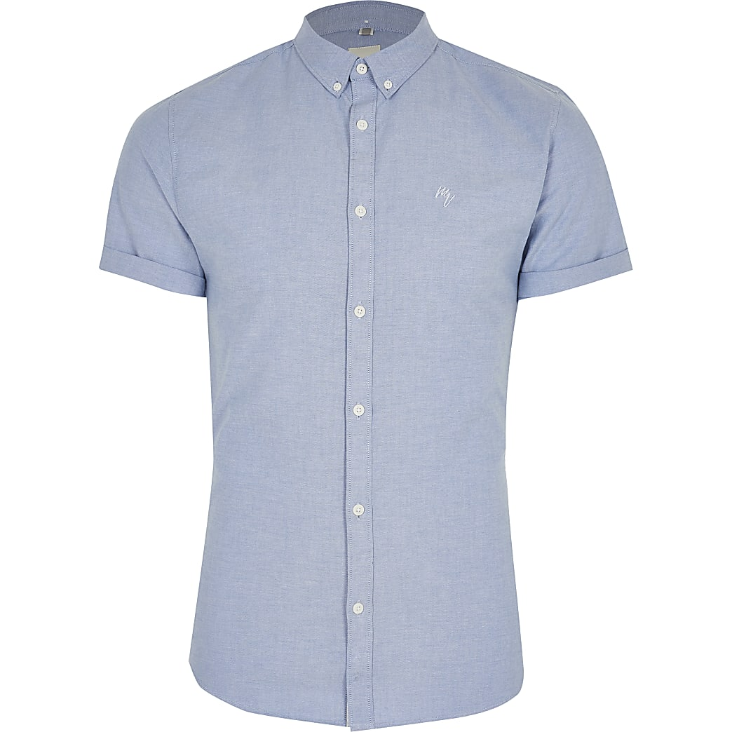 Maison Riviera blue muscle fit Oxford shirt