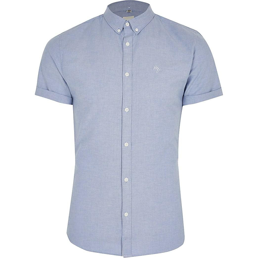 Maison Riviera blue muscle fit Oxford shirt