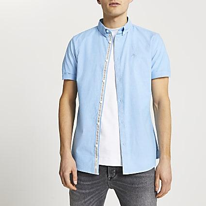 Maison Riviera blue short sleeve oxford shirt