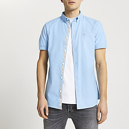 Maison Riviera blue slim fit oxford shirt
