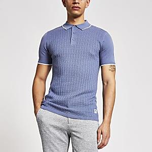 Maison Riviera – Blaues Slim Fit Poloshirt aus Strick