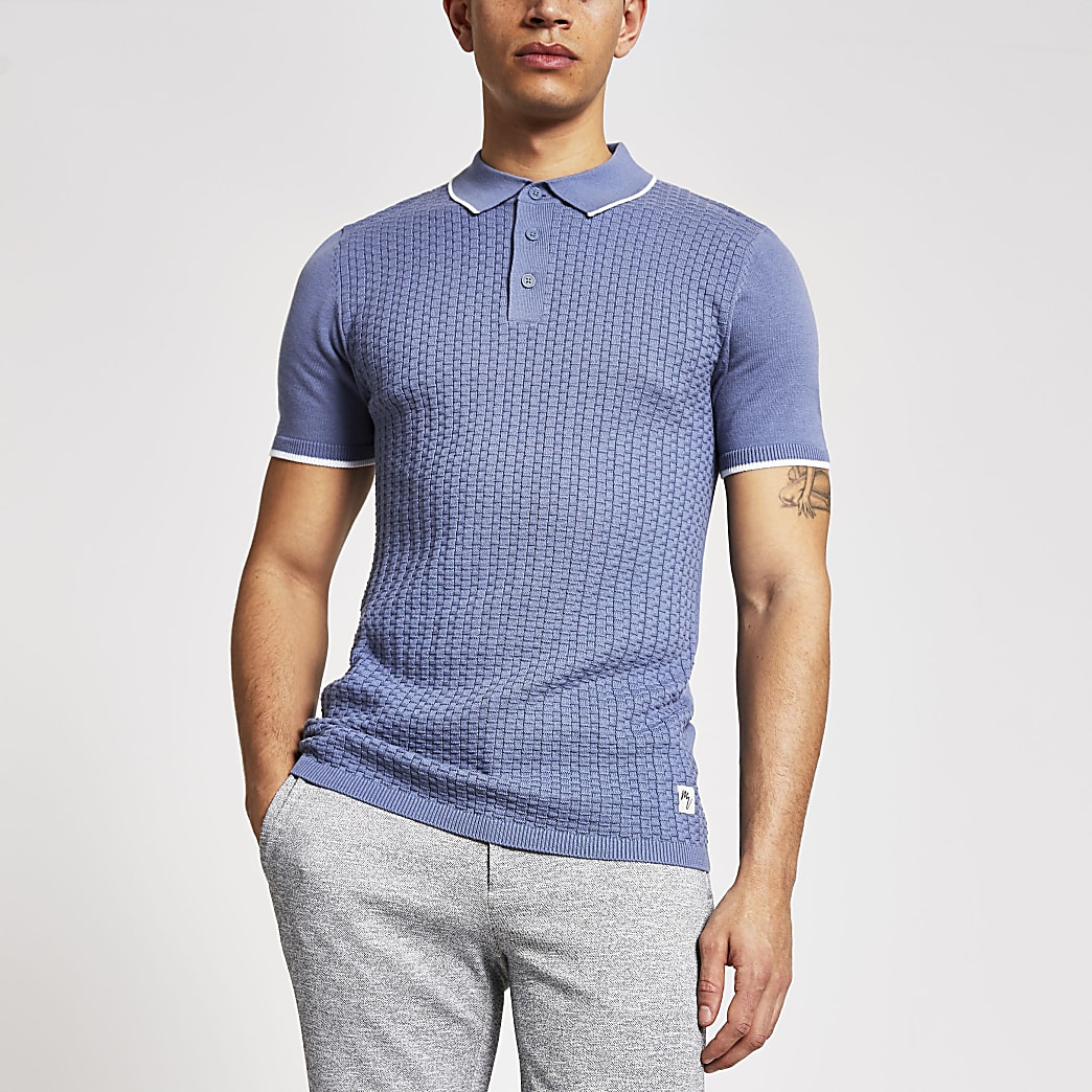 Maison Riviera blue slim knitted polo shirt