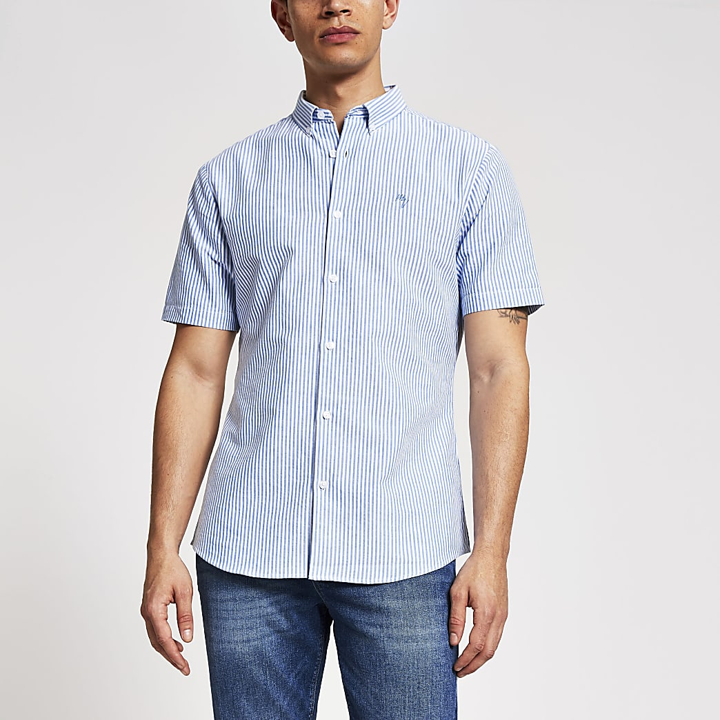 Maison Riviera - Blauw gestreept slim-fit overhemd