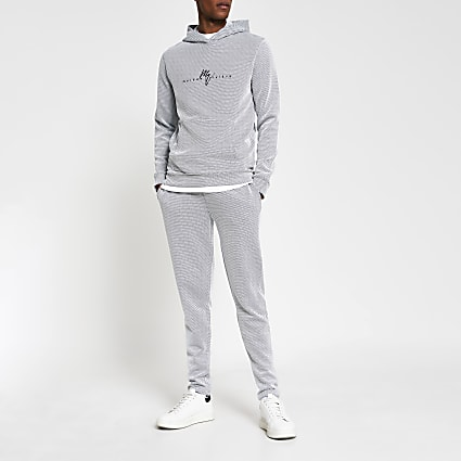 Maison Riviera blue textured slim fit hoodie