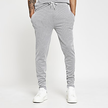 Maison Riviera blue textured slim fit joggers