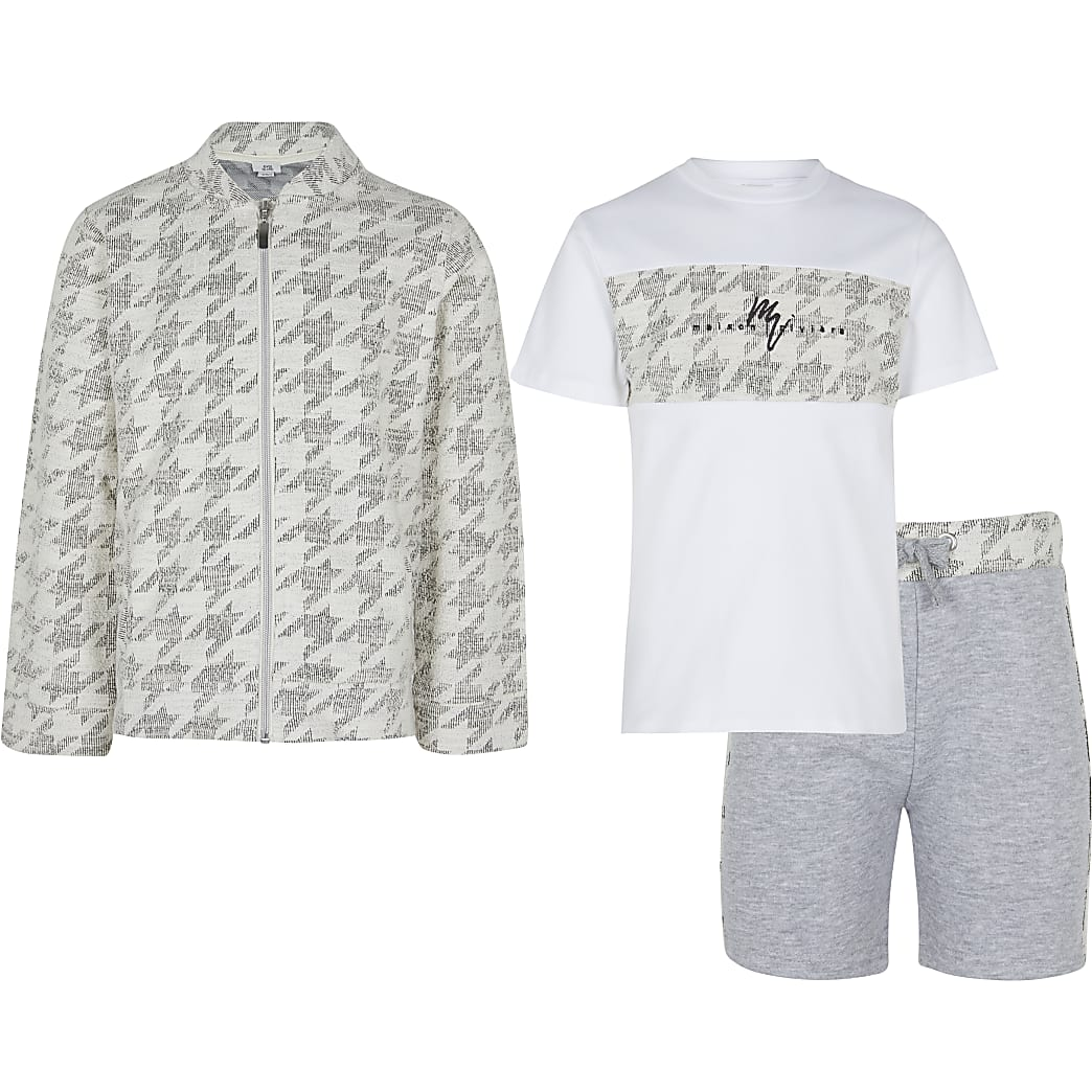 Maison Riviera boys grey dogtooth outfit