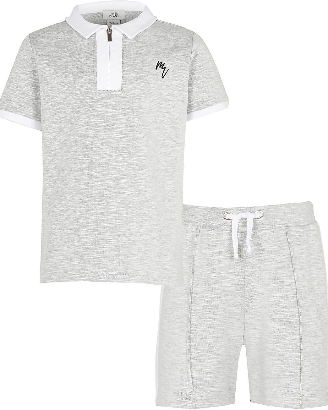 Maison Riviera boys grey polo shirt outfit