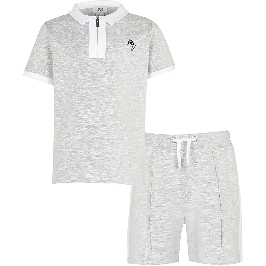 Maison Riviera boys grey polo shirt outfit