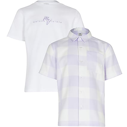 Maison Riviera Boys lilac check 2 piece set