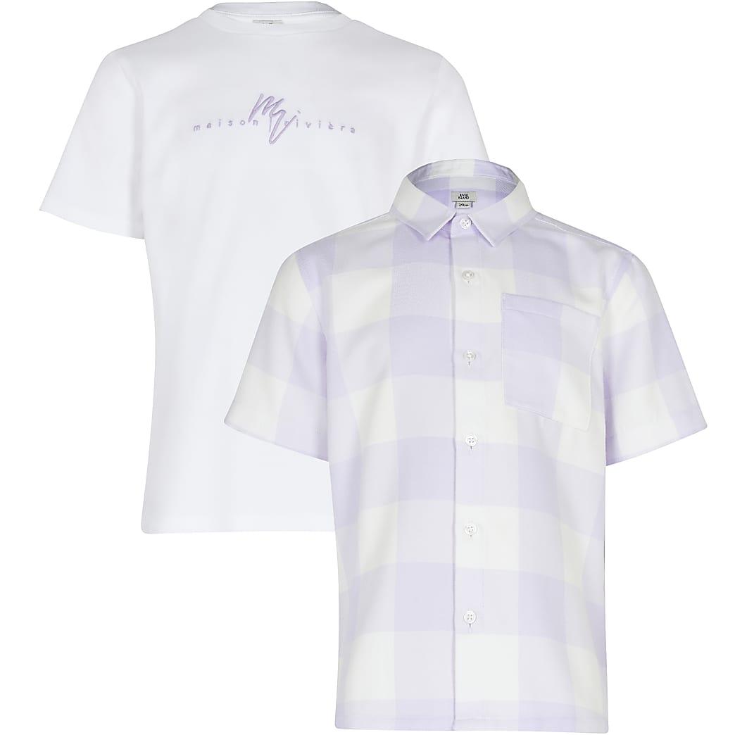 Maison Riviera Boys lilac check 2 piece set