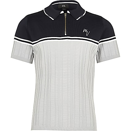 Maison Riviera Boys navy ribbed polo shirt