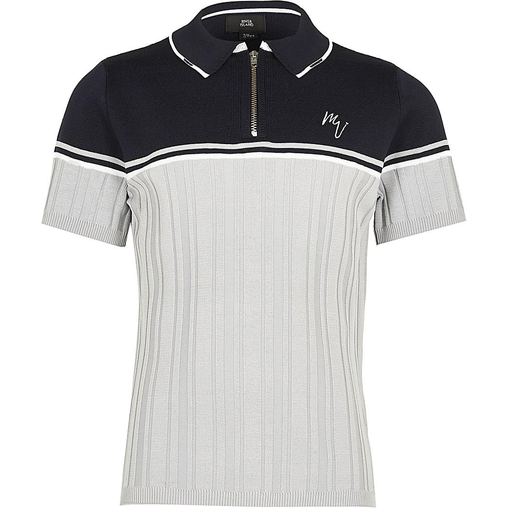 Maison Riviera Boys navy ribbed polo shirt