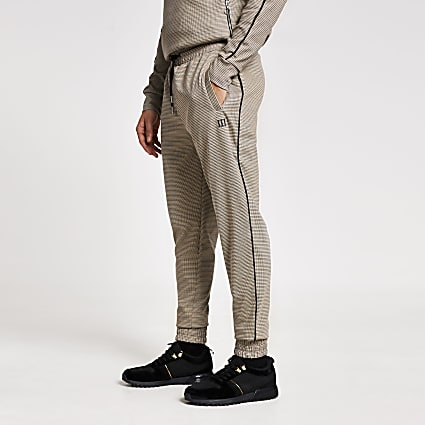 Maison Riviera brown check slim fit joggers