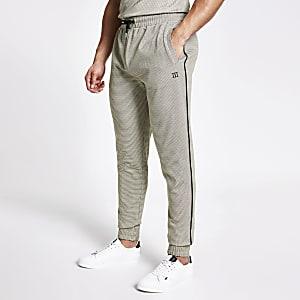 Maison Riviera – Pantalon de jogging slim à carreaux marron
