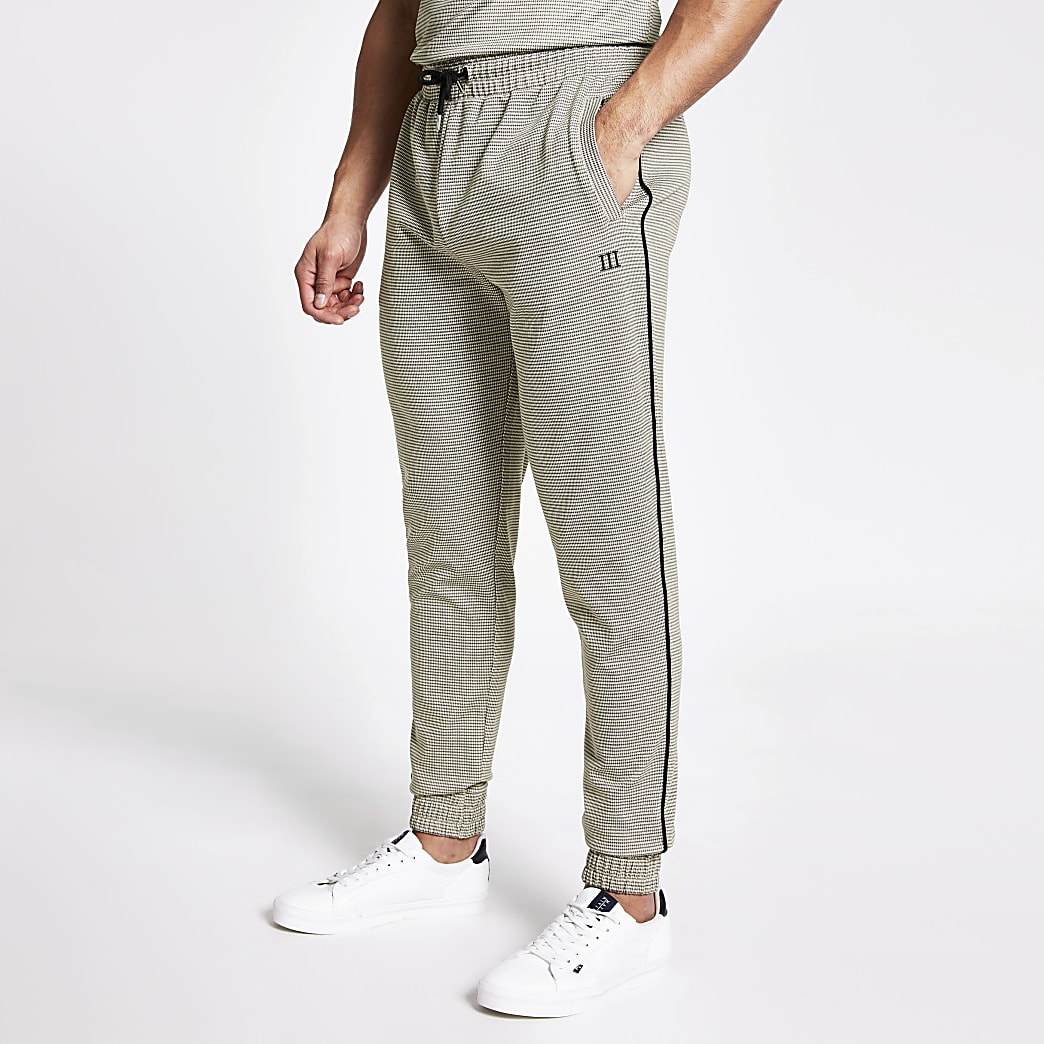 Maison Riviera brown check slim joggers