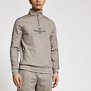 Maison Riviera – Braunes, kariertes Sweatshirt mit Reißverschluss