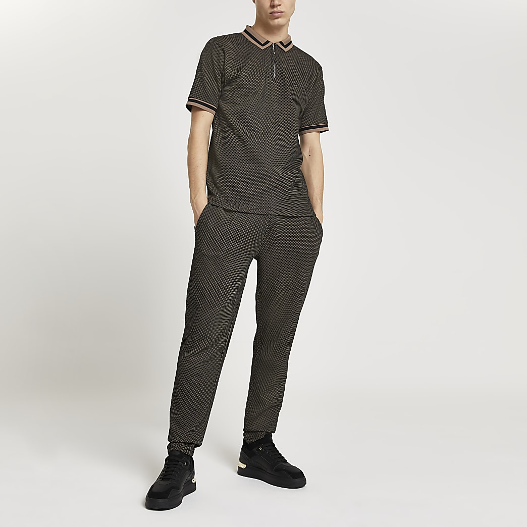 Maison Riviera brown textured joggers