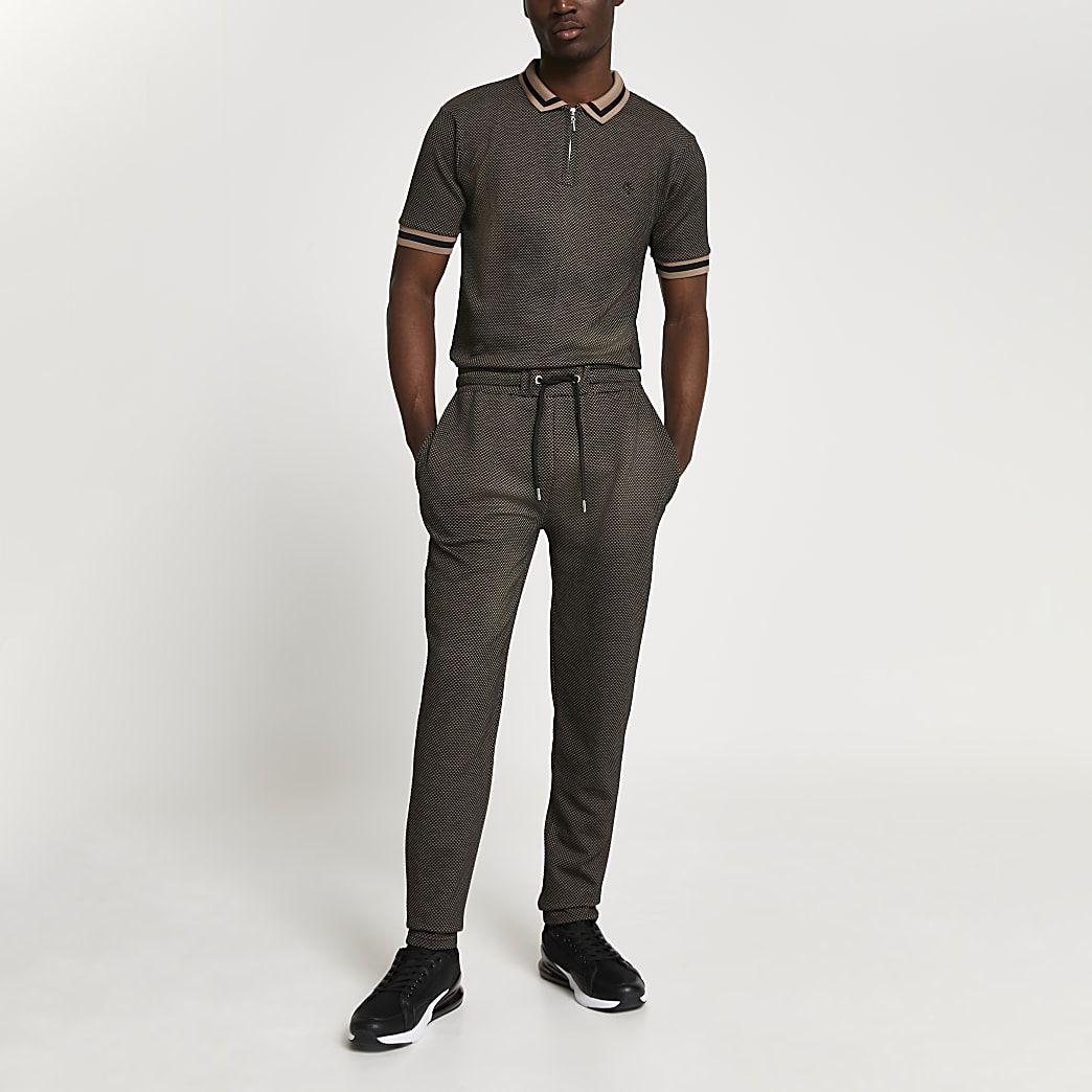 Maison Riviera brown textured slim fit outfit