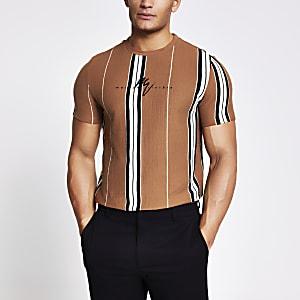 Maison Riviera – Braunes T-Shirt mit Streifenmuster und Struktur