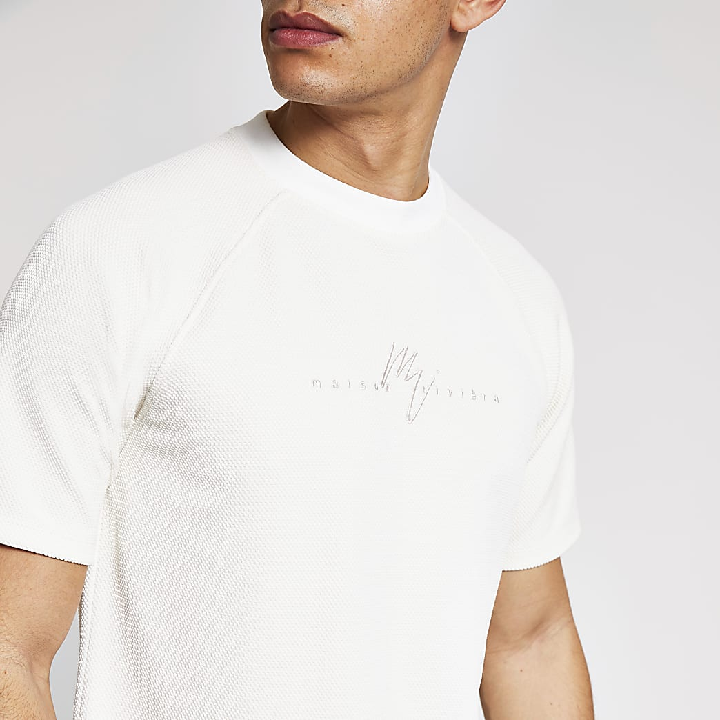 Maison Riviera - Crèmekleurig piqué slim-fit T-shirt
