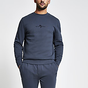 Maison Riviera – Dunkelgraues Slim Fit Sweatshirt