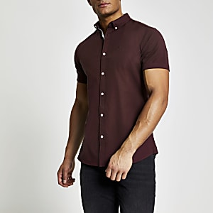 Maison Riviera - Donkerrood slim-fit Oxford overhemd