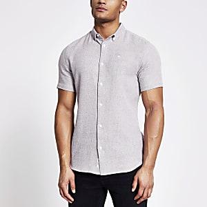Maison Riviera - Donkerrood slim-fit overhemd met textuur