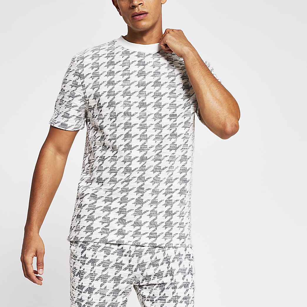 Maison Riviera dogtooth check slim T-shirt