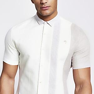Maison Riviera - Ecru slim-fit overhemd met kleurvlak