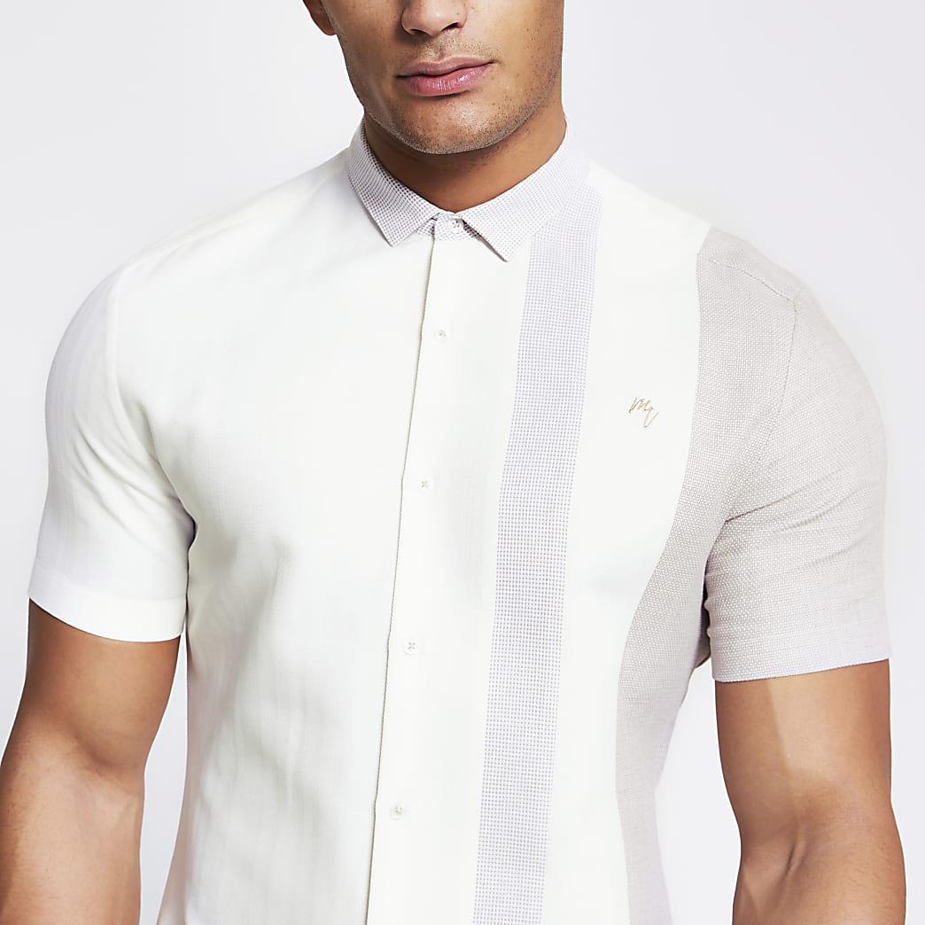Maison Riviera ecru block slim fit shirt