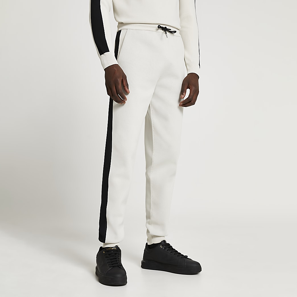 Maison Riviera ecru blocked slim fit joggers