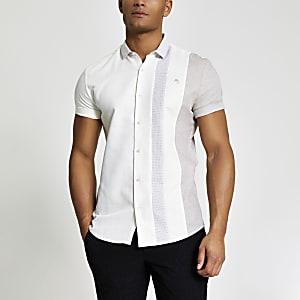 Maison Riviera – Slim Fit Hemd in Ecru in Blockfarben