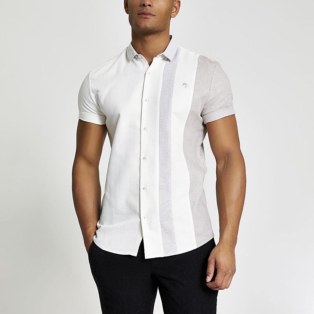 Maison Riviera - Ecru slim-fit overhemd met kleurvlakken