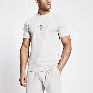 Maison Riviera - Ecru geruit slim-fit T-shirt
