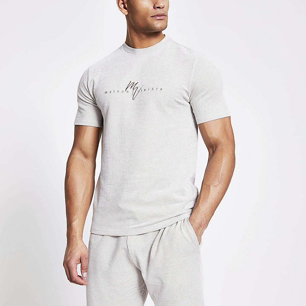 Maison Riviera ecru check slim fit t-shirt