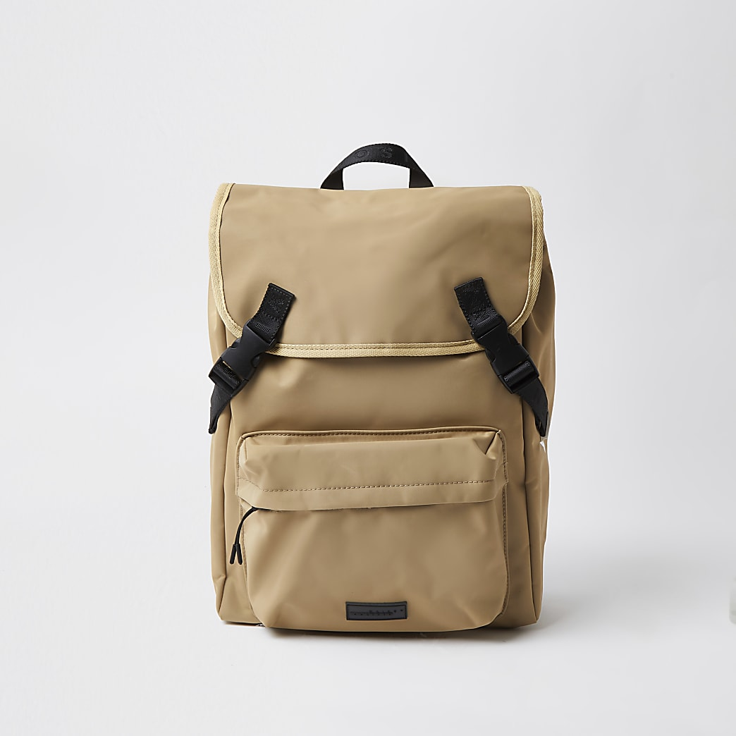 Maison Riviera ecru double buckle backpack