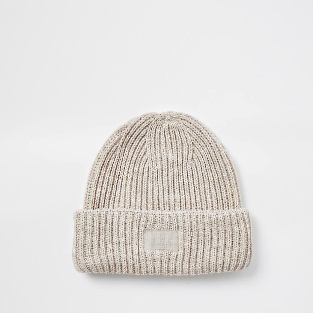 Maison Riviera ecru knitted beanie hat