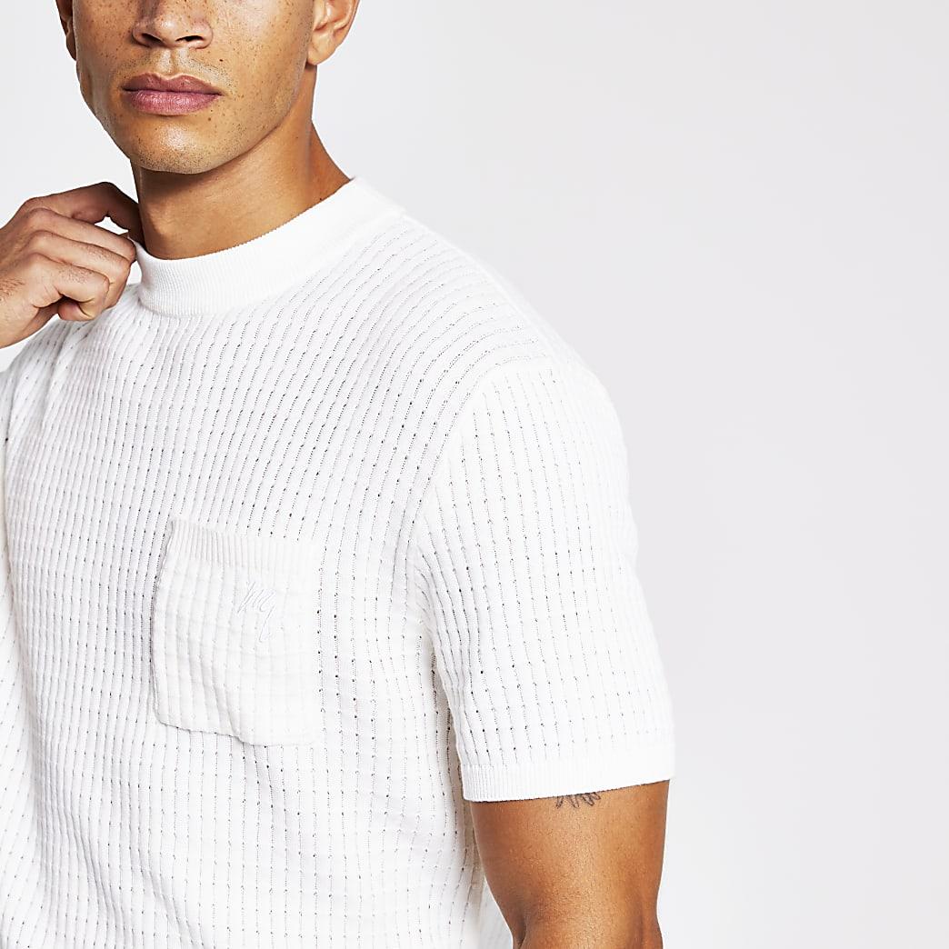 Maison Riviera ecru knitted waffle T-shirt