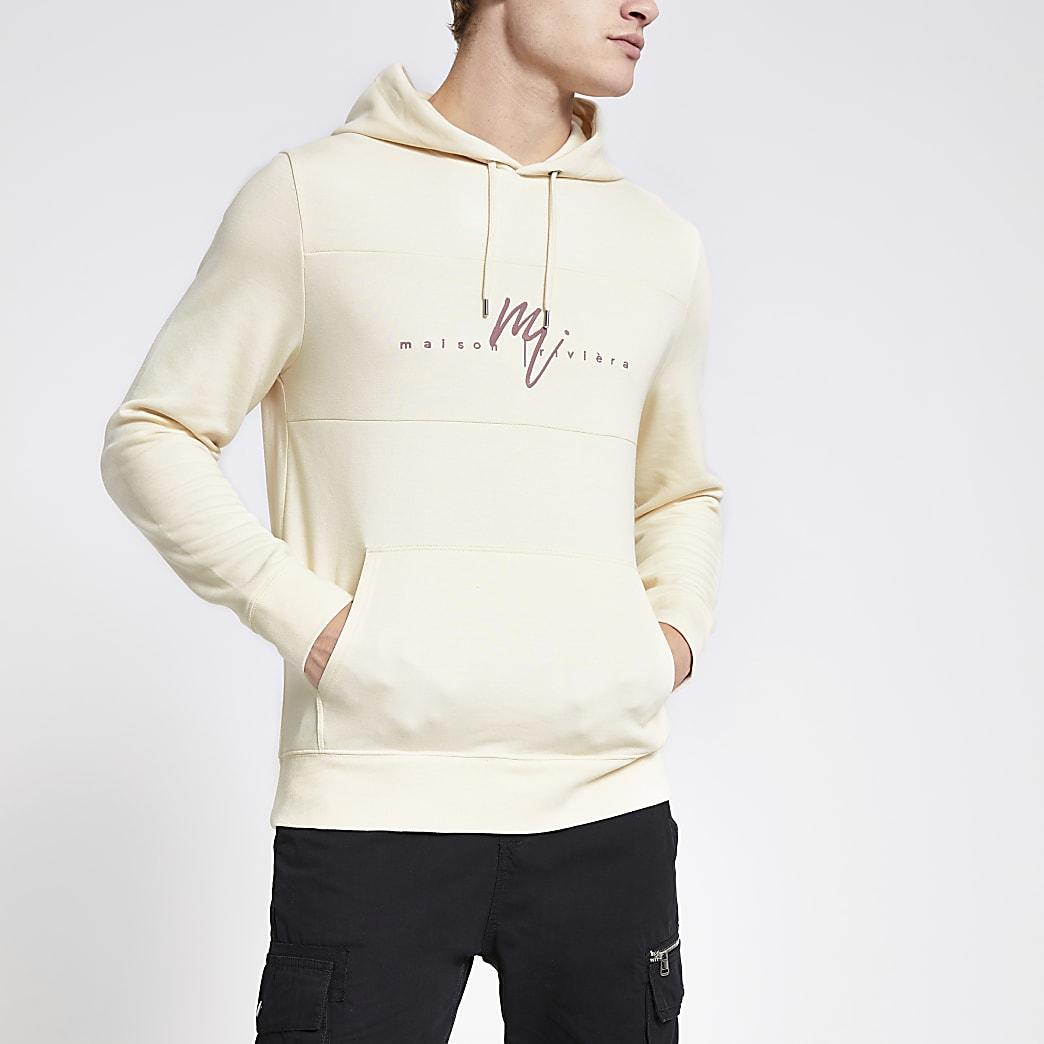 Maison Riviera ecru slim fit hoodie
