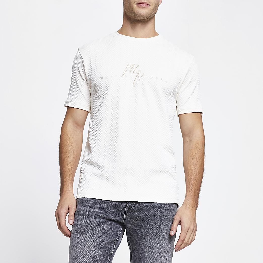 Maison Riviera ecru slim fit t-shirt