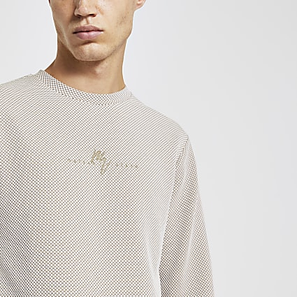 Maison Riviera ecru slim long sleeve T-shirt
