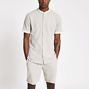 Maison Riviera - Ecru baseball shirt met textuur