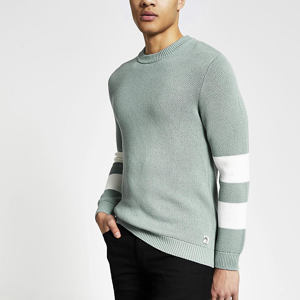 Maison Riviera - Groene gebreide trui met kleurvlakken