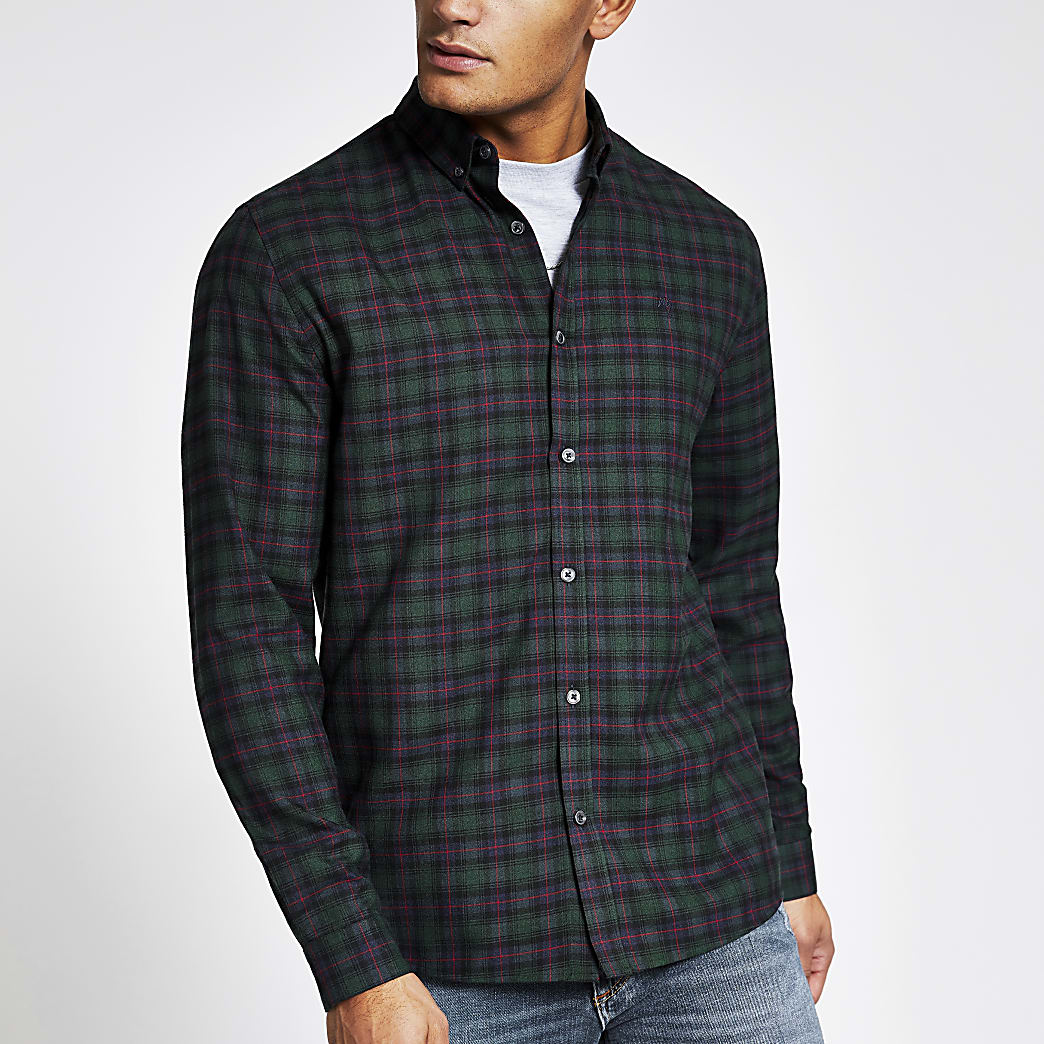 Maison Riviera green check slim fit shirt