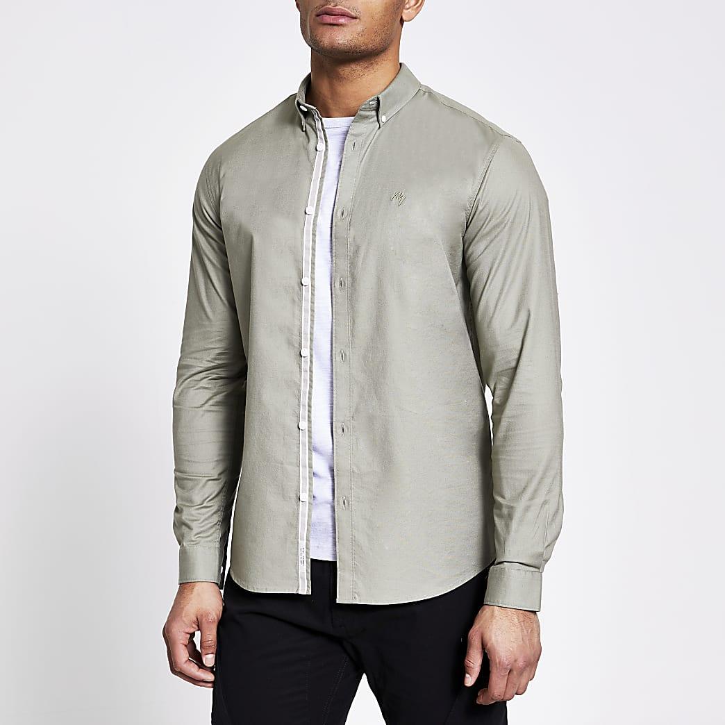Maison Riviera green long sleeve Oxford shirt