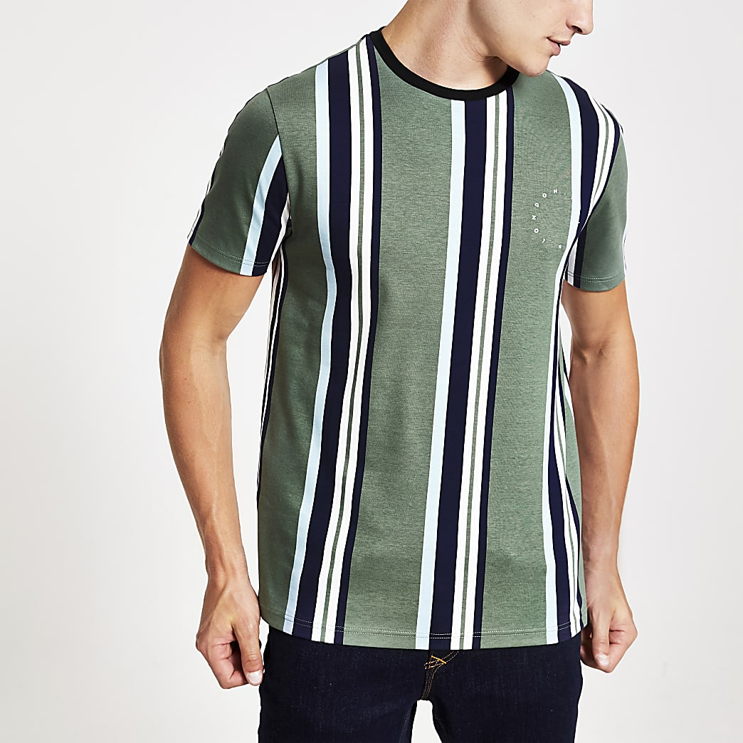 Maison Riviera green slim fit stripe T-shirt