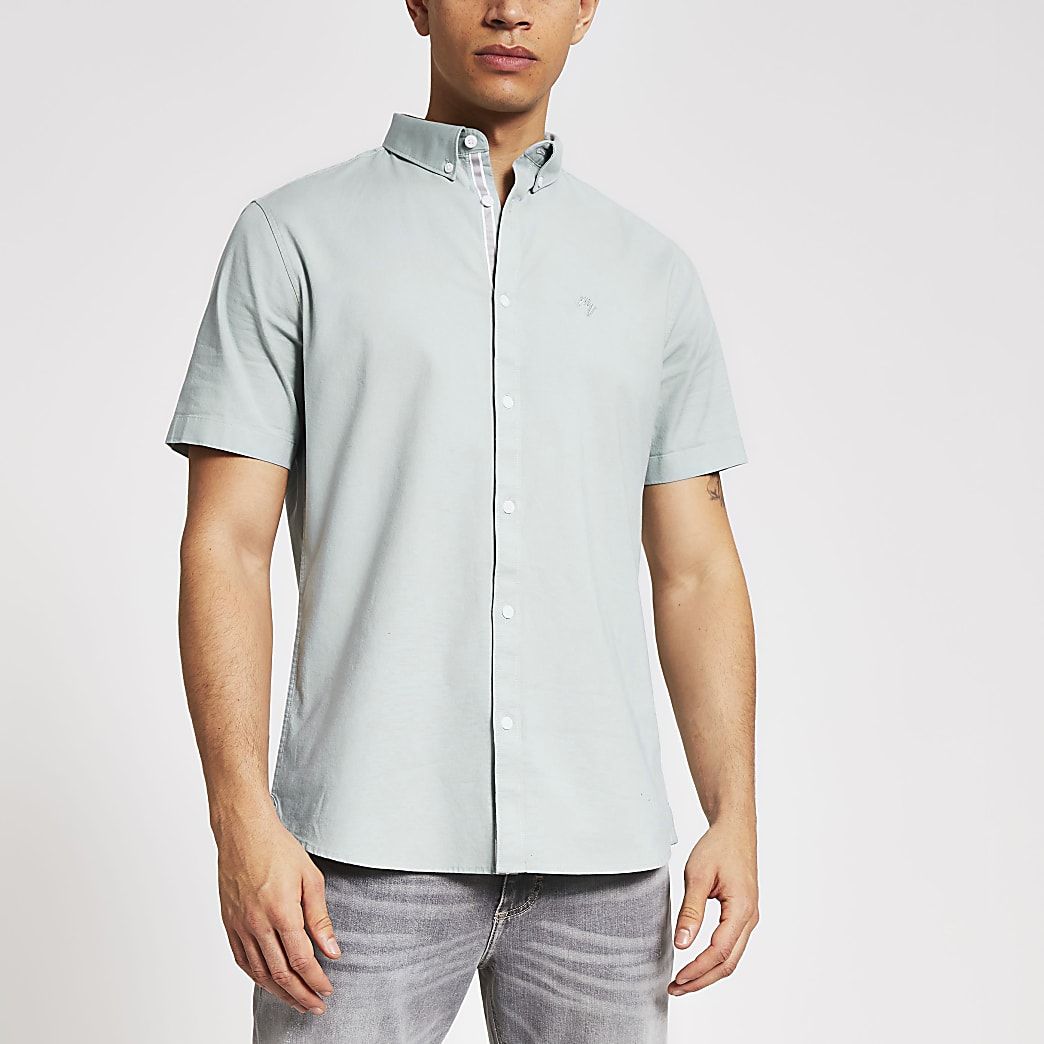 Maison Riviera green slim short sleeve shirt