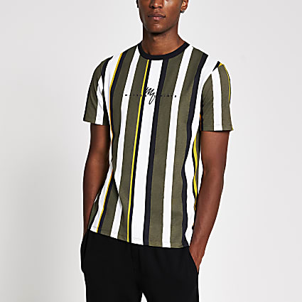 Maison Riviera green stripe slim fit t-shirt